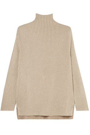 AGNONA Ribbed metallic cashmere-blend turtleneck sweater