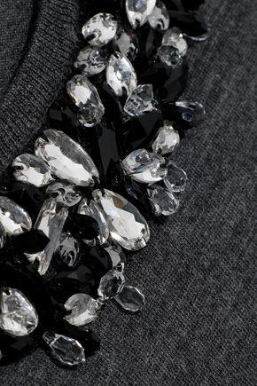 JASON WU Crystal-embellished mélange wool sweater