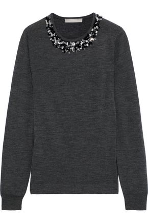 JASON WU Crystal-embellished mélange wool sweater