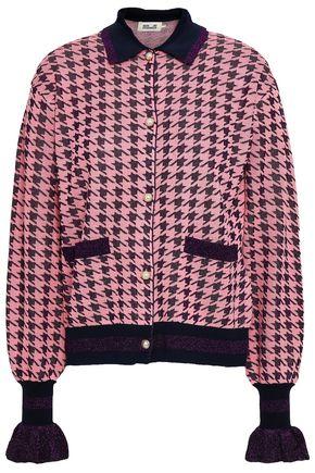 BAUM UND PFERDGARTEN Fluted houndstooth jacquard-knit cardigan