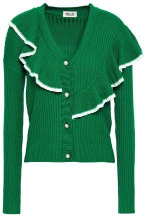 BAUM UND PFERDGARTEN Ruffled ribbed-knit cardigan