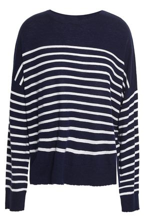 SUNDRY Embroidered striped merino wool and cashmere-blend sweater