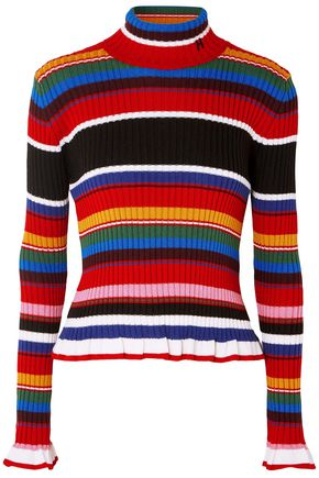 MSGM Striped ribbed wool-blend turtleneck sweater