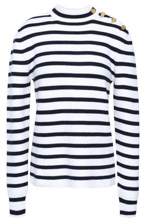 Button Detailed Striped Wool Sweater by Paco Rabanne