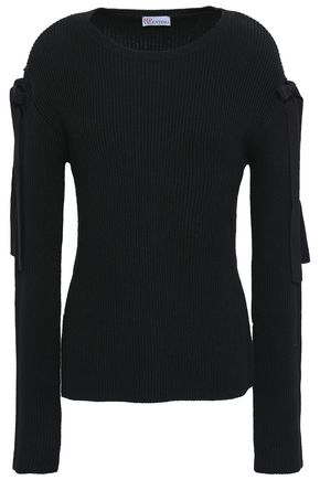 REDValentino Cutout ribbed cotton sweater