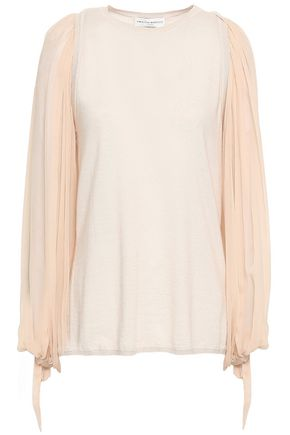 AMANDA WAKELEY Tie-detailed cashmere and georgette top
