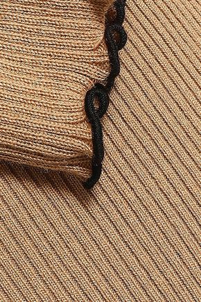 MSGM Ruffled ribbed-knit turtleneck sweater