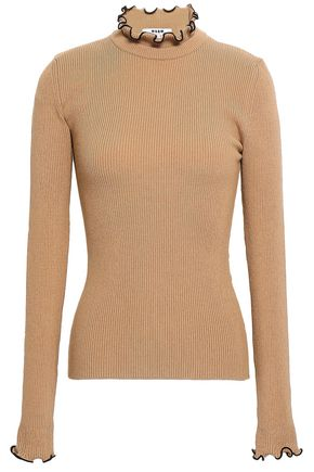 MSGM Ruffled ribbed-knit turtleneck sweater