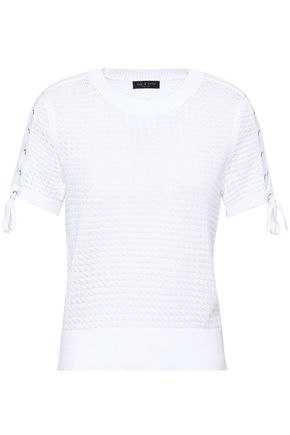 RAG & BONE Lace-up open-knit cotton top