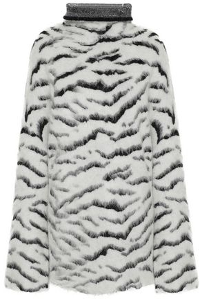 GIVENCHY Oversized zebra-jacquard turtleneck sweater