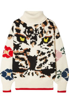 Fringe Trimmed Intarsia Wool Turtleneck Sweater by Sonia Rykiel