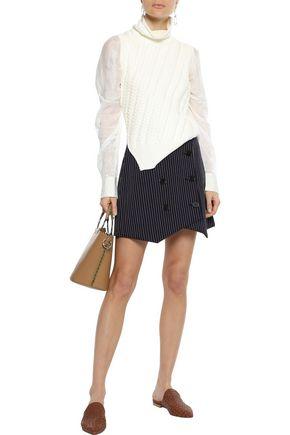 DEREK LAM 10 CROSBY Cable-knit cotton-blend turtleneck sweater