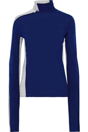 JOSEPH Mélange two-tone merino wool turtleneck top