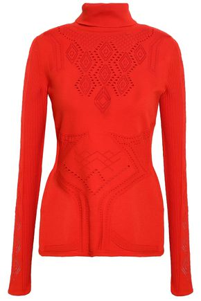 ROBERTO CAVALLI Pointelle-knit turtleneck top