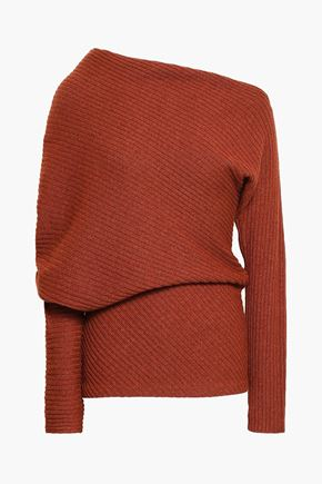 ROBERTO CAVALLI One-shoulder ribbed alpaca, silk and cashmere-blend sweater