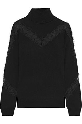 Lace Trimmed Wool Turtleneck Sweater by Milly