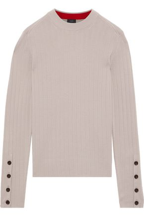 JOSEPH Button-detailed ribbed merino wool sweater