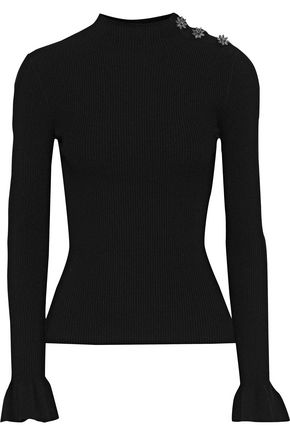MILLY Crystal-embellished ribbed-knit sweater
