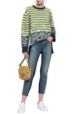 Current Elliott Current/Elliott Woman The Wes Printed Brushed-Knitted Sweater Lime Green