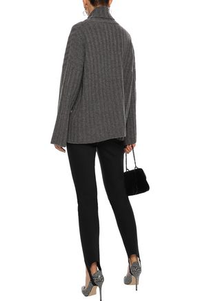 MILLY Button-detailed ribbed cashmere turtleneck sweater
