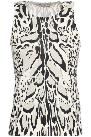 ROBERTO CAVALLI Printed wool, cashmere and silk-blend top