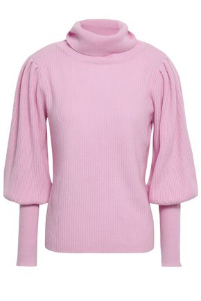 MILLY Gathered cashmere turtleneck sweater