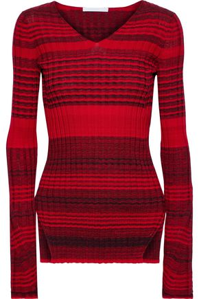 HELMUT LANG Striped ribbed wool and cotton-blend sweater