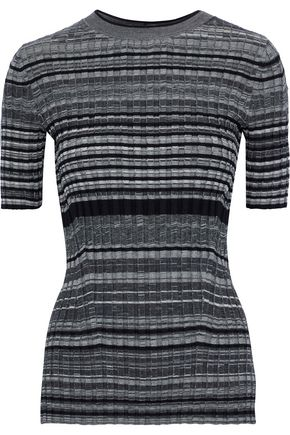 HELMUT LANG Striped ribbed wool and cashmere-blend top