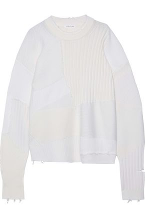 HELMUT LANG Military Grunge oversized patchwork wool, cotton and cashmere sweater