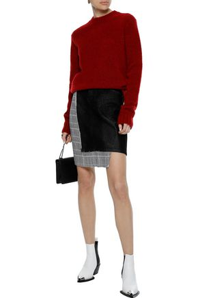 Helmut Lang Knits HELMUT LANG WOMAN BRUSHED MÉLANGE KNITTED SWEATER CRIMSON