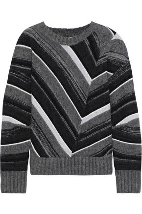 HELMUT LANG Striped wool, cotton, yak and cashmere-blend sweater