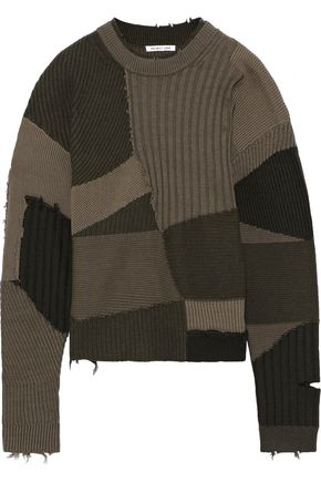 HELMUT LANG Patchwork distressed wool, cotton and cashmere-blend sweater