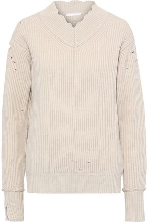 HELMUT LANG Distressed ribbed wool sweater