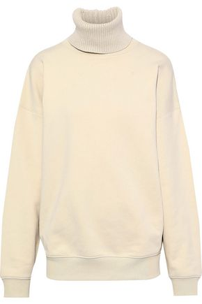 HELMUT LANG Ribbed knit-trimmed French cotton-terry turtleneck sweatshirt