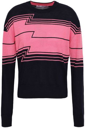 DEREK LAM 10 CROSBY Wool, silk and cashmere-blend intarsia sweater