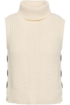 DEREK LAM 10 CROSBY Button-detailed ribbed cotton-blend turtleneck sweater