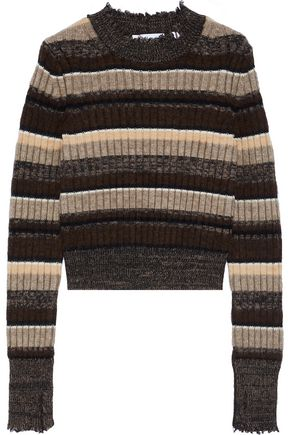 HELMUT LANG Ribbed striped wool, cotton, yak and cashmere-blend sweater