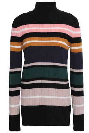 MARKUS LUPFER Striped ribbed merino wool turtleneck sweater