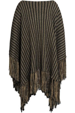 SAINT LAURENT Fringed metallic wool-blend jacquard poncho
