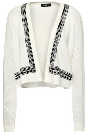 DKNY Appliquéd paneled knitted cardigan