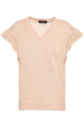 DKNY Paneled ruffled linen and cotton-blend top