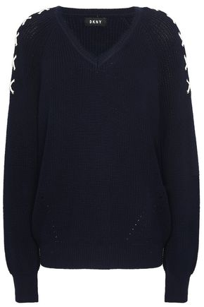 DKNY Lace-up ribbed cotton sweater