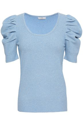 b8eec507f3 CO Gathered metallic stretch-knit top