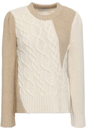 CO Cable knit-paneled metallic alpaca-blend sweater