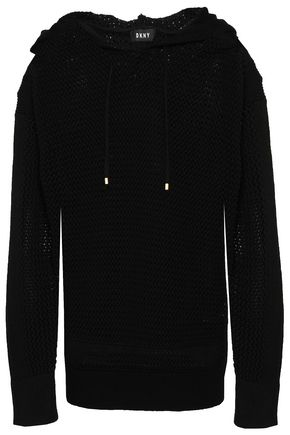 DKNY Open-knit hooded sweater