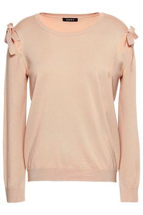 DKNY Cutout bow-detailed knitted top