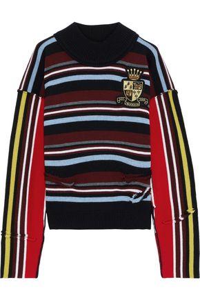 J.W.ANDERSON Distressed appliquéd striped intarsia merino wool sweater