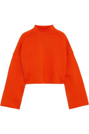 J.W.ANDERSON Cropped appliquéd wool and cashmere-blend sweater