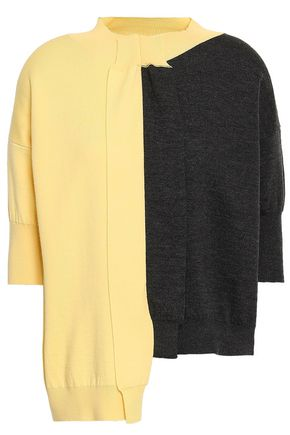 MARNI Asymmetric two-tone wool sweater