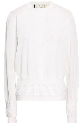 MARNI Gathered cotton-blend sweater